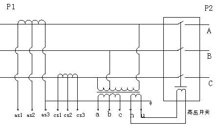 两台电压互感器,组成v/v-12接线计量方式,它提供计量信号和控制单元所